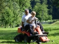 Driving a mower.